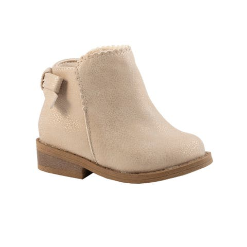 Baby Deer Little Girls Champagne Scallop Trim Bow Ankle Boots