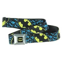 Batman Bat Signal 2 Black/Yellow Seatbelt Belt-Holds Pants Up
