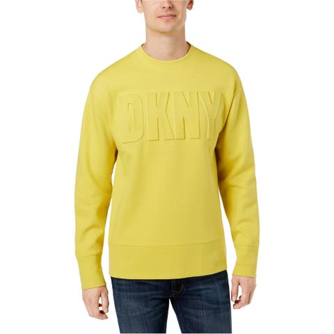 DKNY Mens Raised Logo Sweatshirt, Yellow, XX-Large