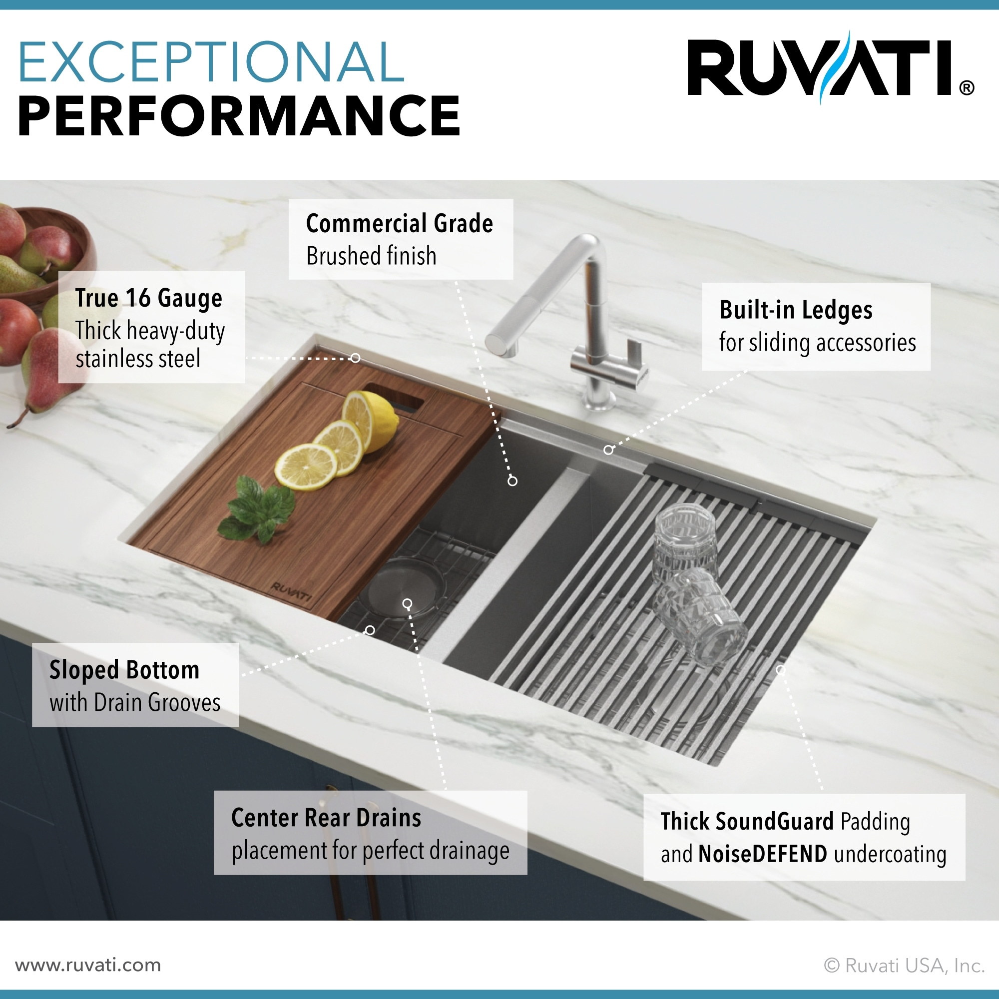Ruvati 33 Inch Workstation Ledge 50 50 Double Bowl Undermount 16 Gauge Stainless Steel Kitchen Sink Rvh8350 Overstock 7029920