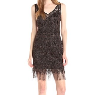 Jessica Simpson NEW Black Womens Size 4 Metallic Fringe Sheath Dress