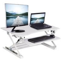 Costway Height Adjustable Computer Desk Sit/Stand Desktop Workstation Home Office White