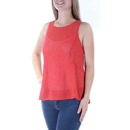 SANCTUARY Womens Red Textured Sleeveless Jewel Neck Sweater Size: M