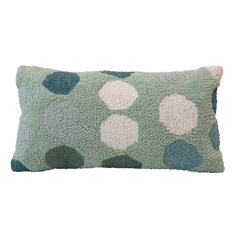 Woven Cotton Lumbar Pillow with Dots, Multi Color