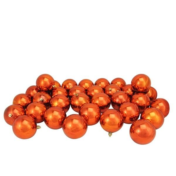 "32ct Burnt Orange Shatterproof Shiny Christmas Ball Ornaments 3.25"" (80mm)"