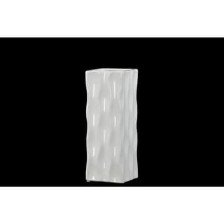 Square Shaped Ceramic Vase With Wavy Pattern, Small, Glossy White