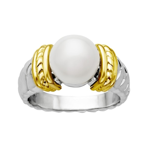 9.5mm Freshwater Pearl Ring in Sterling Silver and 14K Gold