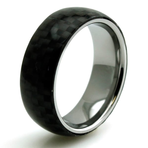 Titanium Black Carbon Fiber Inlay Domed Ring