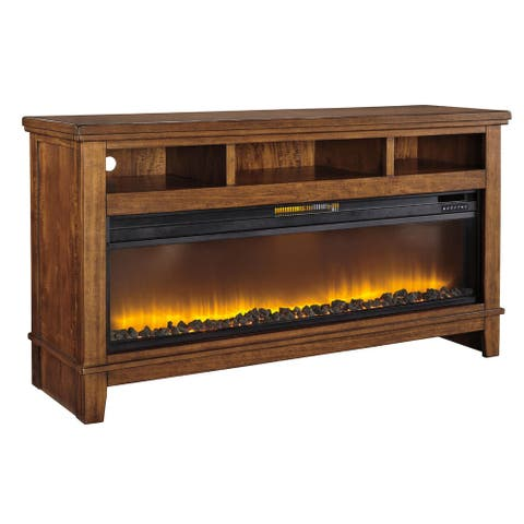 Entertainment Accessories Contemporary Wide Fireplace Insert Black