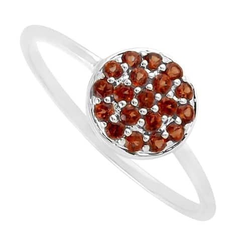 10k White Gold Red Garnet Band Ring Handmade Gemstone Jewelry