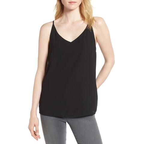 1.state Women's Black Size XS Lattice Back V-Neck Tank Cami Top