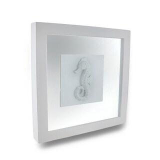 White Seahorse Shadow Box Wall Hanging