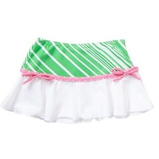 Azul Girls Green Pink Stripe Dot Candy Crush Trendy Swim Skirt