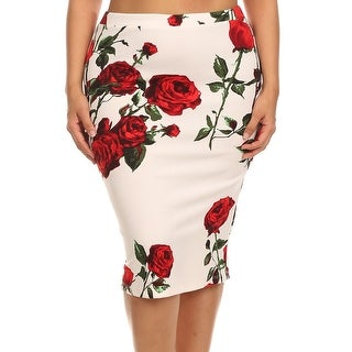 Women Plus Size Trendy Floral Pattern Pencil Skirt White Red