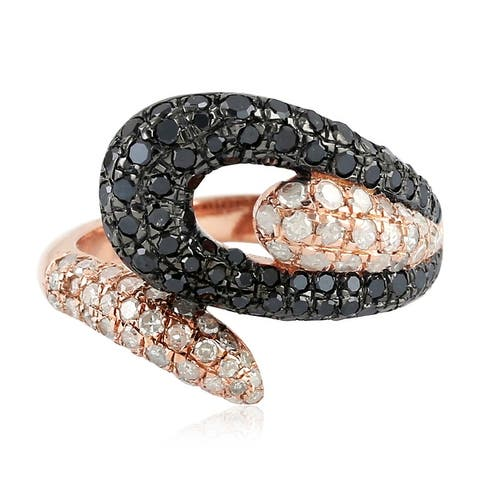 Valentine Gift Bypass Ring Diamond Sterling Silver 18k Gold Jewelry ING-7251