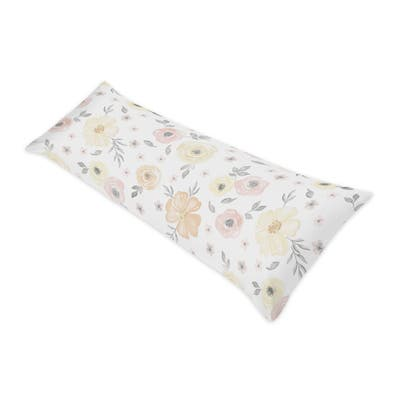 Yellow Pink Watercolor Floral Body Pillow Case (Pillow Not Included) - Blush Peach Grey White Shabby Chic Rose Flower Farmhouse