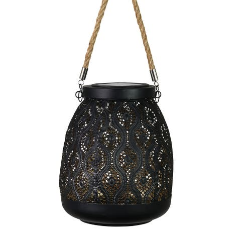 Exhart Solar Metal Filigree Hanging Lantern, 7 by 15 Inches