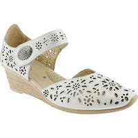 Spring Step Women's Nougat Closed Toe Sandal White Leather