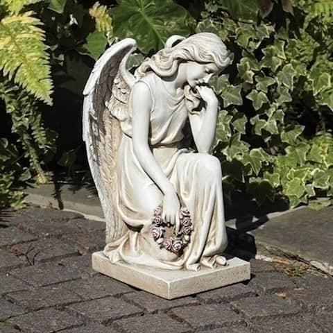 """17.75"""" Cream White Joseph Studio Garden Statuary Themed Kneeling Angel on Base - N/A"""