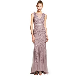 Adrianna Papell Beaded Illusion Neckline Mermaid Evening Gown Dress