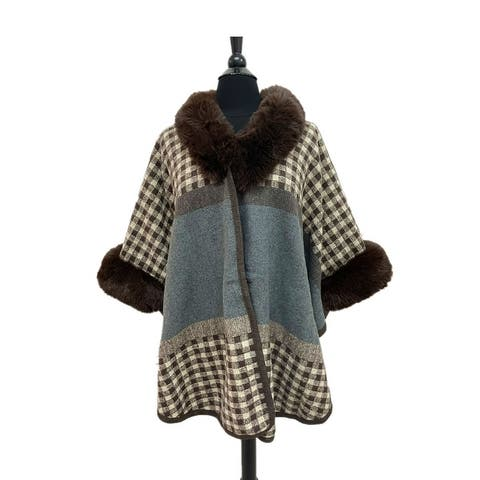 Casual Party Hoodie Coat One Size Printed Winter Clothing for Womens with Faux Fur Trimmed Ladies Girls
