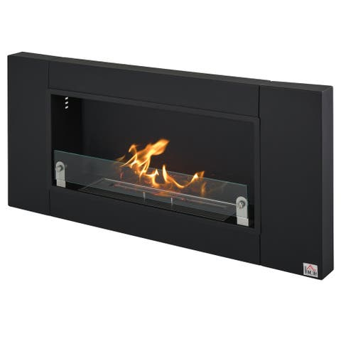 """HOMCOM Wall-Mounted Stainless Steel Ventless Ethanol Fireplace Living Room Bedroom Heater, 43.25""""x5.5"""""""