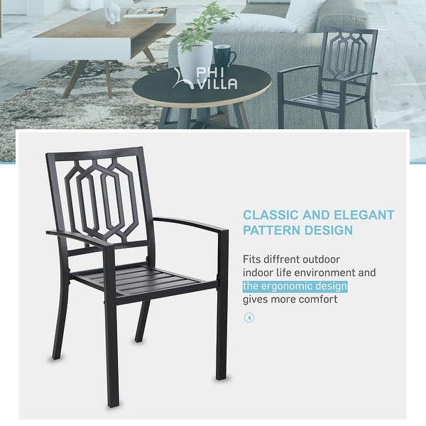 Phi Villa Metal Outdoor Patio Dining Set Table And 4 Chairs Set Of 5 Overstock 30579240