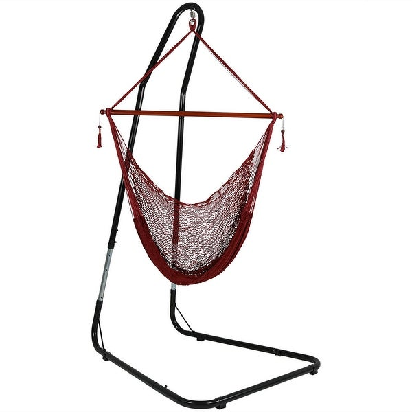 Sunnydaze Cabo Extra-Large Hanging Rope Hammock Chair - Adjustable Stand - Red - With Stand