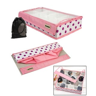 JAVOedge Collapsable Pink 24 Grid Underwear, Tie, Sock Under the Bed Organizer / Storage with Transparent Velcro Lid
