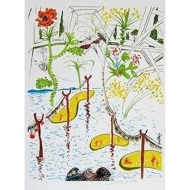 Biological Garden, Mixed Media, Lithograph and Collage, Salvador Dali
