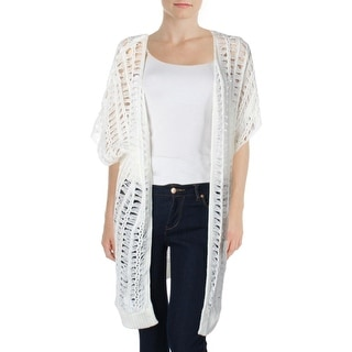 Ultra Flirt Womens Juniors Knit Open Stitch Cardigan Sweater