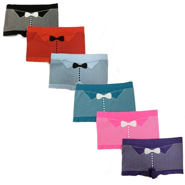 Women's 6 Pack Seamless Bow Tie Print Boyshorts Panties