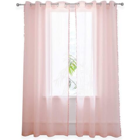 DriftAway Laura Pom Pom Trimmed Solid Sheer Window Curtains