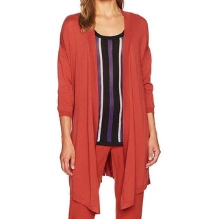 Anne Klein Cinnamon Orange Women Size XL Open-Front Cardigan Sweater