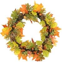 "20"" Autumn Harvest Maple Leaf, Berry, Pine Cone and Acorn Artificial Thanksgiving Wreath - Unlit - Orange"