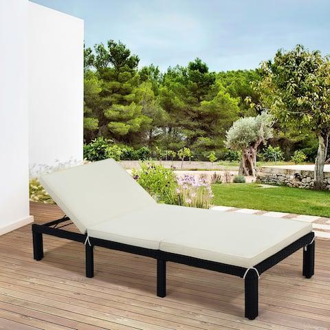 Nestfair Patio Furniture Outdoor Adjustable PE Rattan Wicker Chaise Lounge