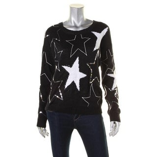 Oh MG! Womens Juniors Sweater Sequined Printed - L