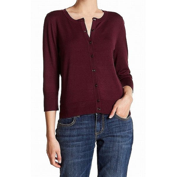 fortunato Immunizzare spagnolo  Shop Susina Burgundy Red Womens Size Large L Button Down Cardigan Sweater -  Overstock - 28223044