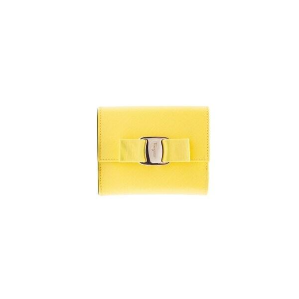 Salvatore Ferragamo Women Vara Bow Yellow Leather French Wallet - S