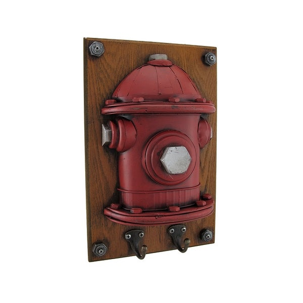Red Metal Fire Hydrant Wood Wall Plaque w/Hooks - 12.5 X 8 X 3.5 inches