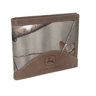 John Deere Men's Realtree Nylon and Leather Billfold Wallet - tan/camo - One Size