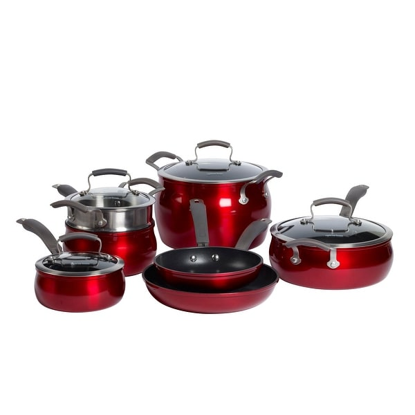 Epicurious 11Pc Aluminum Cookware Set Red. Opens flyout.