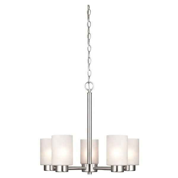Westinghouse 6227400 Sylvestre 5 Light Single Tier Up Lighting Chandelier with Frosted Seeded Glass Shades - Brushed nickel