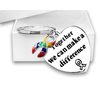 """Autism and Asperger Awareness Ribbon Key Chain with words """"Together We Can Make A Difference"""" in a Gift Box"""