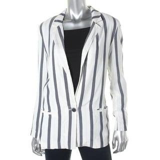 Zara Basic Womens Viscose Striped One-Button Blazer - XS