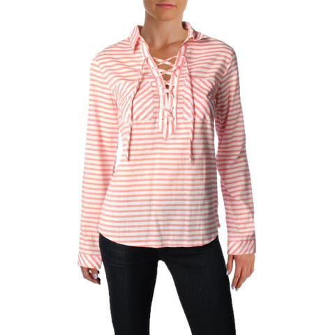 Mountain Hardwear Womens Berryessa Casual Top Striped Lace-Up - XS