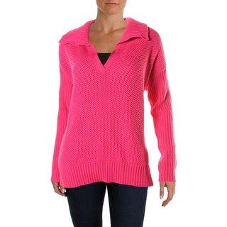 Lauren Ralph Lauren Womens Knit Ribbed Knit Shawl-Collar Sweater