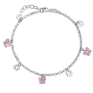 Bling Jewelry Pink Butterfly Crystal Flower Charm 925 Silver Anklet 9in