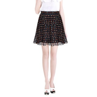 Allegra K Ladies High Waisted Dots Print Fully Lined Mini Pleated Skirt - navy blue (dots)