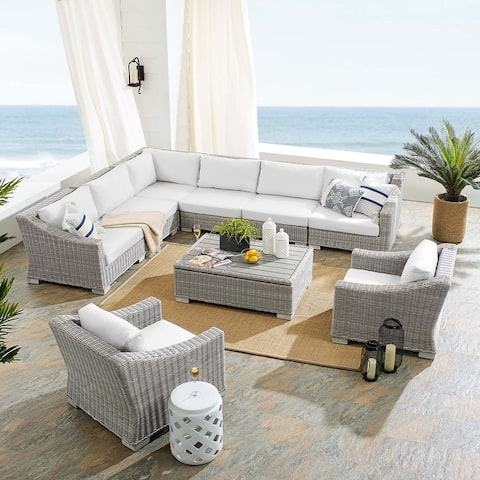 Conway Sunbrella® Outdoor Patio Wicker Rattan 9-Piece Sectional Sofa Furniture Set